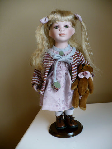 "12"" Porcelain Doll Blond Hair ""Allyson"" Ponytails"