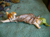 Mini Fairy Wrapped in Leaf with Squirrel