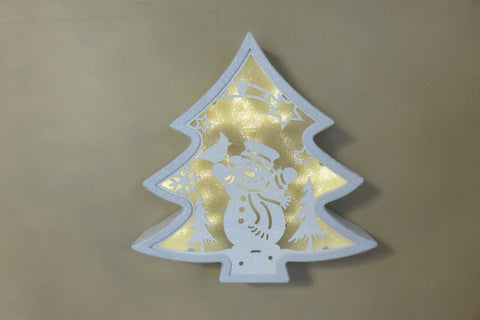 Christmas Snowman Tree Shaped LED Metal Display