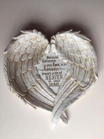"Angel Wings Wall Plaque ""Someone you Love is in Heaven"" Memorial 8.7 x 9.17 inches"