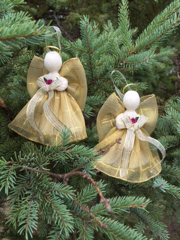 2 Victorian Handmade Ribbon Angels 5 in. Gold Plaid