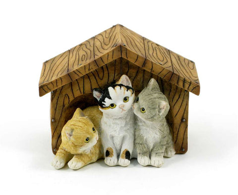 3 Kittens in a Hut Figurine-Cats
