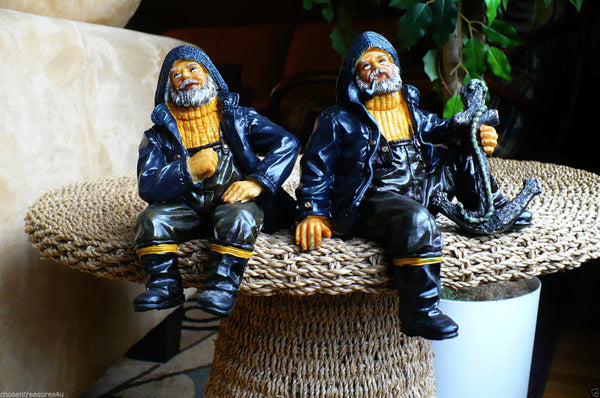 Two 7 In Sailor Shelf Sitters Figurines Resin Nautical