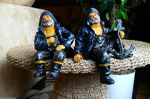TWO 7 in. SAILOR SHELF SITTERS FIGURINES RESIN NAUTICAL DECOR  ANCHOR STATUES