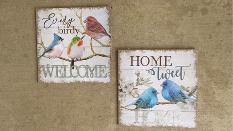 Bird Wall Plaques Signs Set of Two Inspirational Home Tweet Home