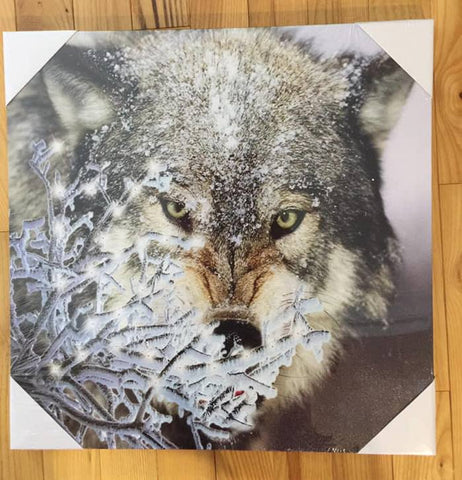 WOLF LED Canvas Wall Plaque