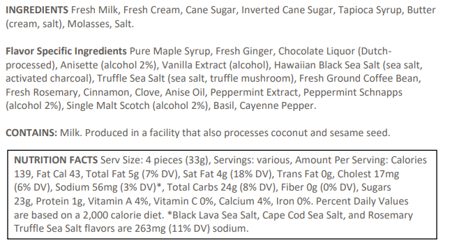 McCrea's Candies Ingredients List and Nutrition Facts