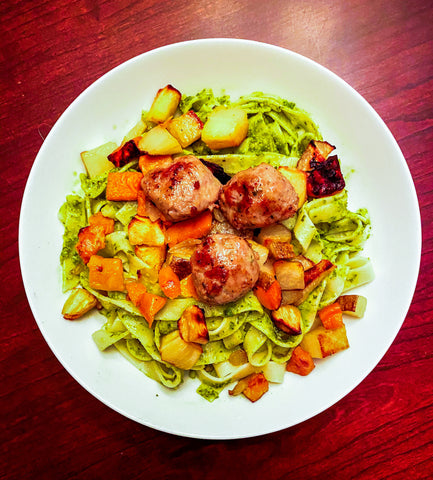Spinach Pesto Pasta with roasted vegetables