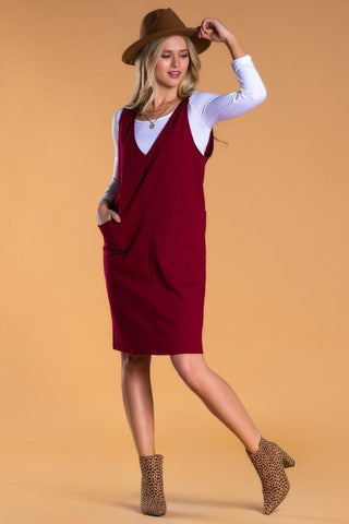 Overall Dress in Wine