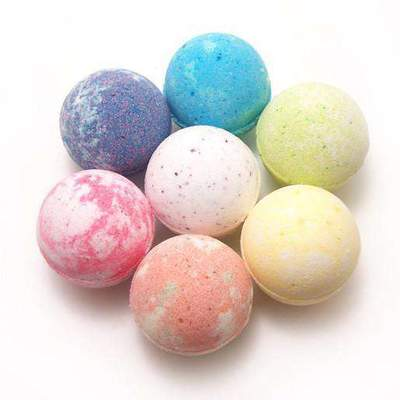 Colorful group of bath bombs