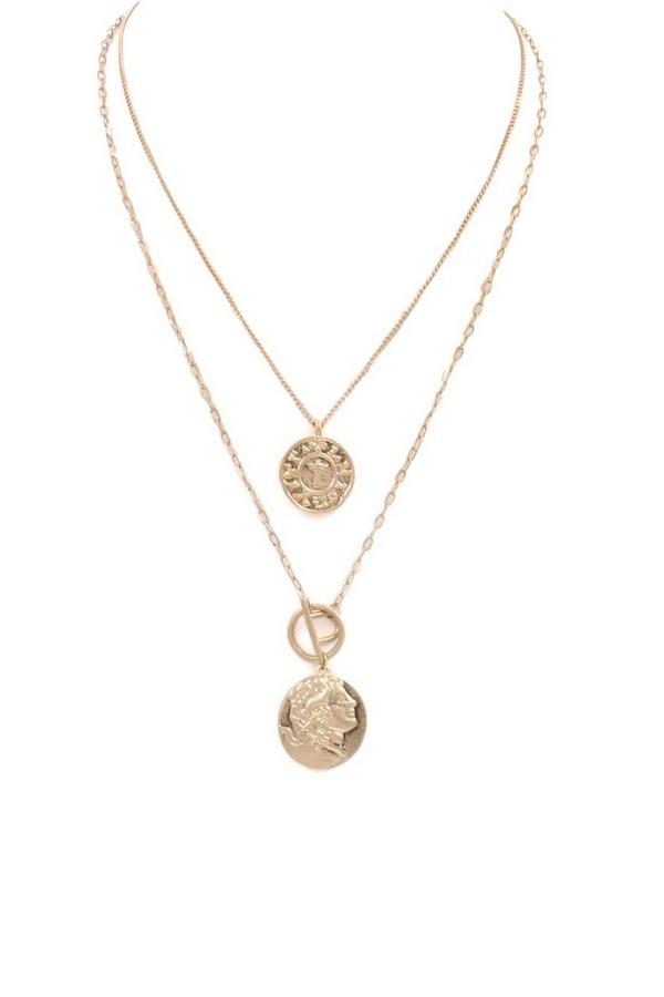 Layered Coin Disc Charm Necklace - SexyModest Boutique