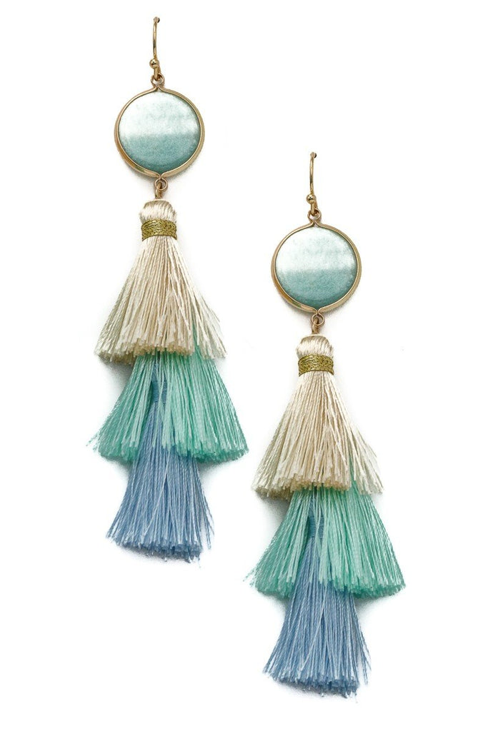 Tiered Tassel Stone Earrings - SexyModest Boutique