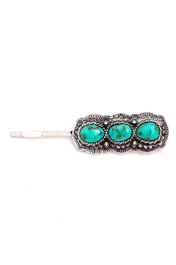 Triple Turquoise Stone Hair Clip