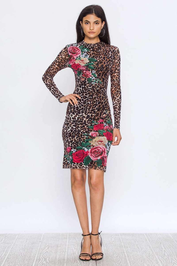 Staci Leopard Floral Dress - SexyModest Boutique