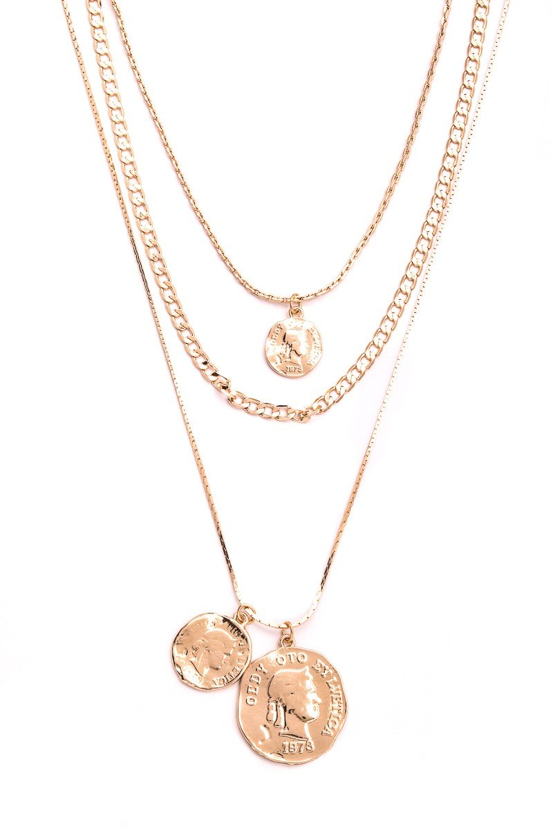 Layered Coin Pendant Necklace - SexyModest Boutique