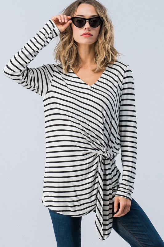 Stella Striped Side Knot Top - SexyModest Boutique