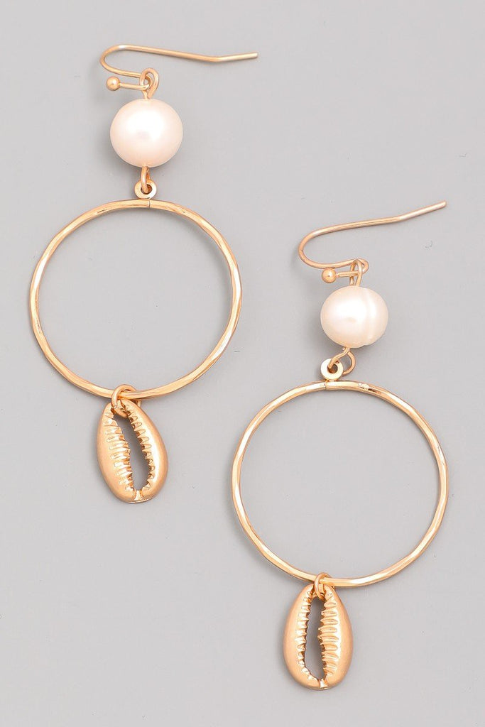 Shell Hoop Earrings - SexyModest Boutique