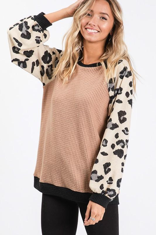 Mya Leopard Sleeve Top
