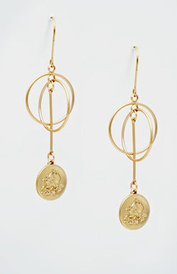 Intertwined Hoops and Coin Earrings