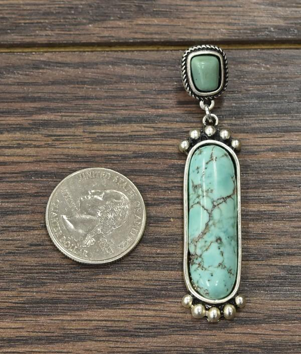 Natural Turquoise Dangle Earrings - SexyModest Boutique