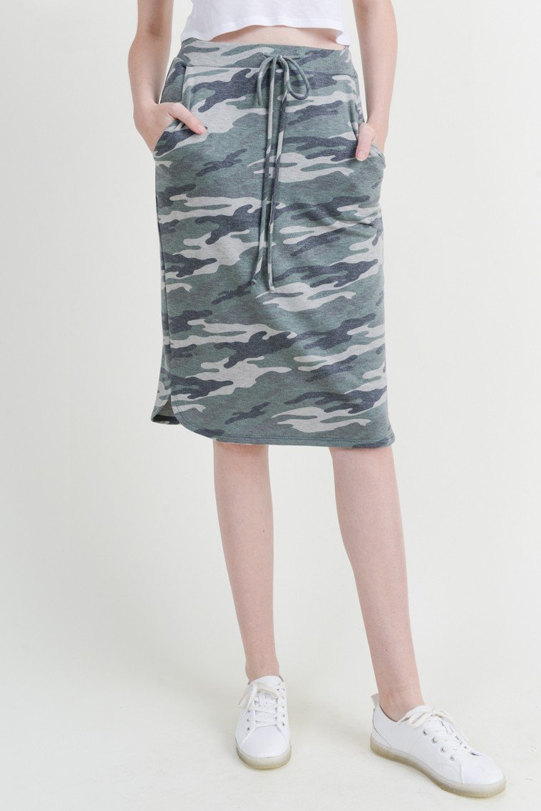 Ryanne Camo Skirt - SexyModest Boutique