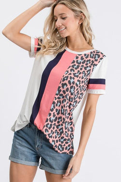 Livie Short Sleeve Animal Block Top