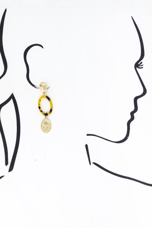 Tortoise Hoop and Coin Earrings