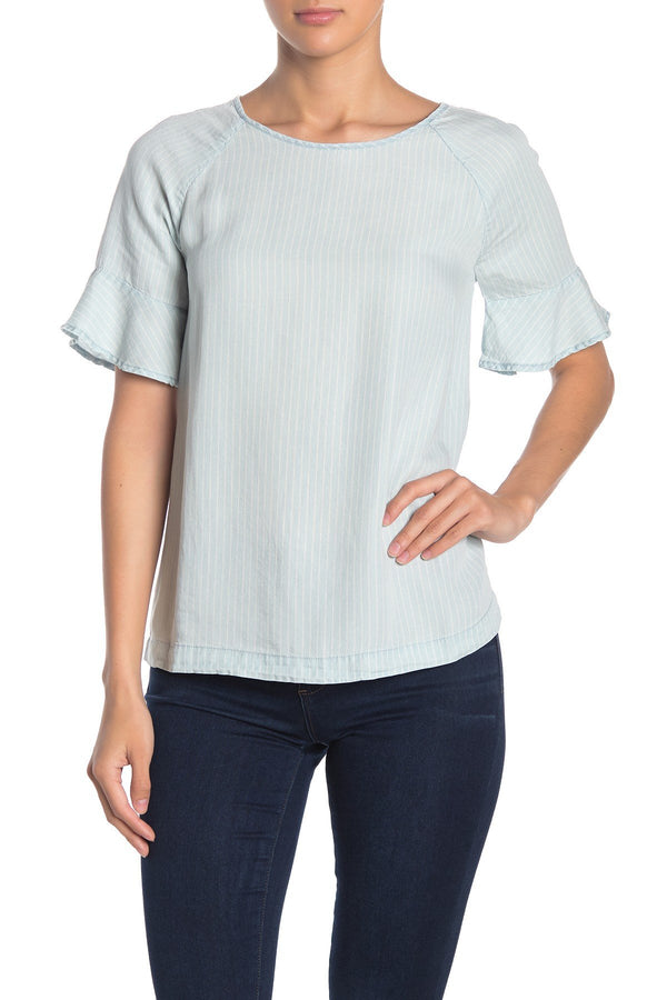 Aubrey Stripe Ruffle Sleeve Top
