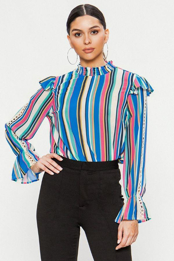 Naomi Striped Blouse - SexyModest Boutique