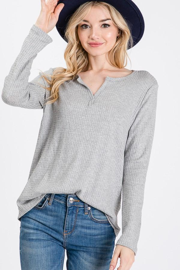 Chloe Waffle Top - SexyModest Boutique