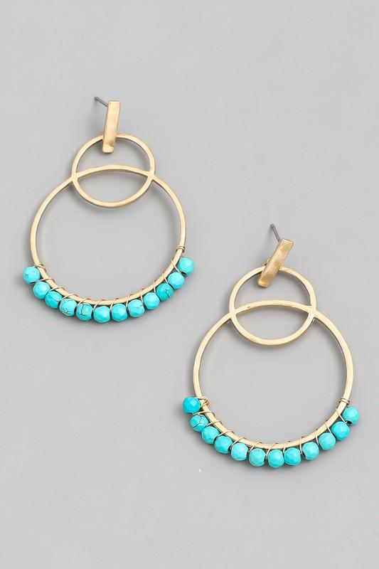 Turquoise Circle Bead Drop Earrings