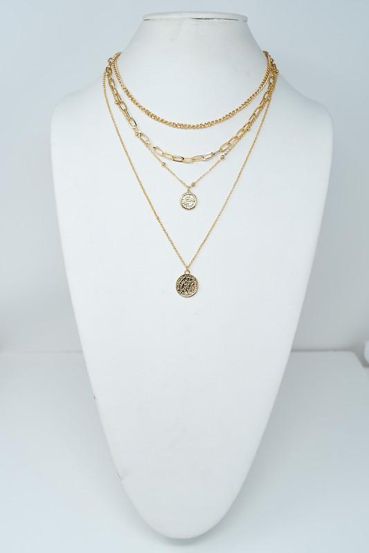 Four Layer Coin Necklace