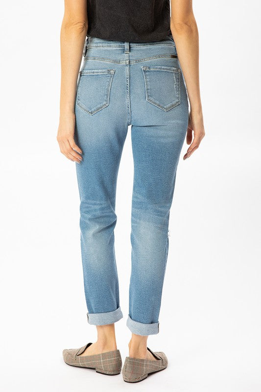 Buttoned High Rise Cuff Jean - SexyModest Boutique