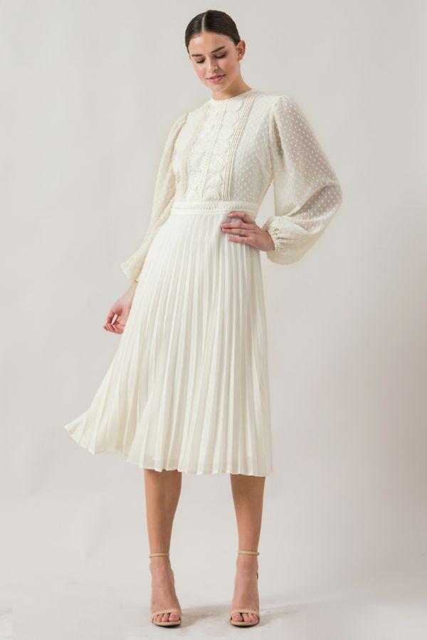 Claire Pleated Dress - SexyModest Boutique