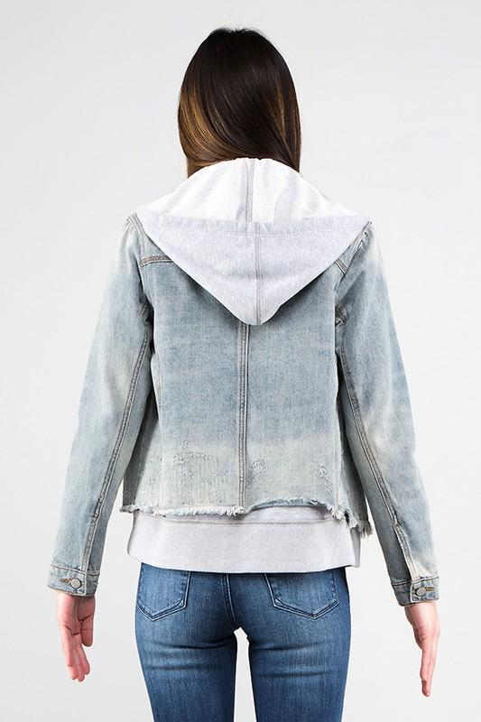 Hailey Hooded Denim Jacket - SexyModest Boutique