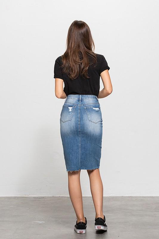 Kara Denim Skirt - SexyModest Boutique