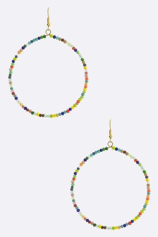 Crystal Wired Circle Drop Earrings - SexyModest Boutique