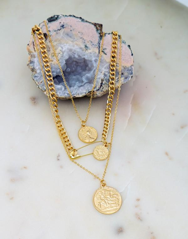 Three Layer Coin and Safety Pin Necklace