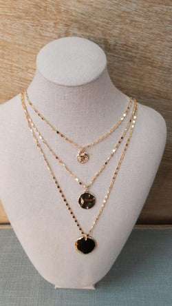 Triple Layer Gold Disc Necklace