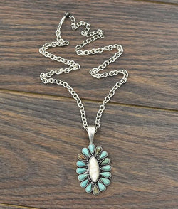 "20"" Turquoise Pendant Necklace"
