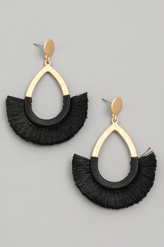 Teardrop Tassel Fan Earrings