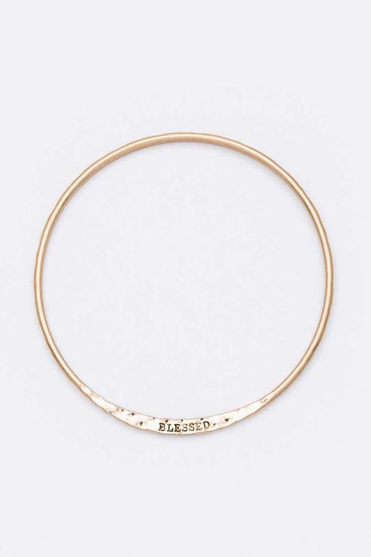 BLESSED Engraved Infinity Bangle