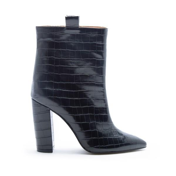 Black Croco Ankle Boots