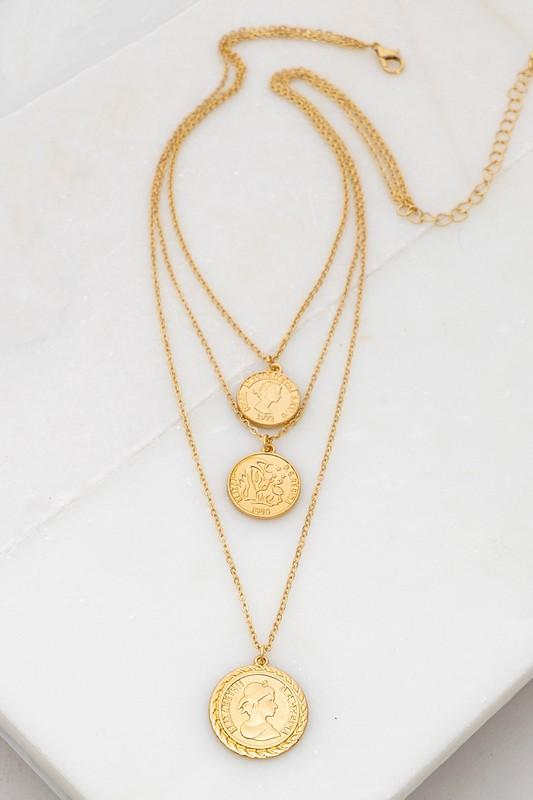 Trio Layer Coin Necklace