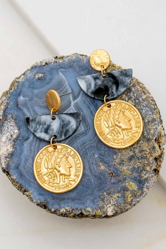 Coin and Half Moon Earrings