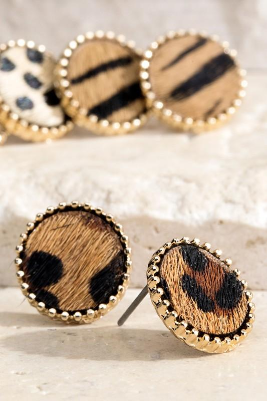 Animal Print Stud Earrings
