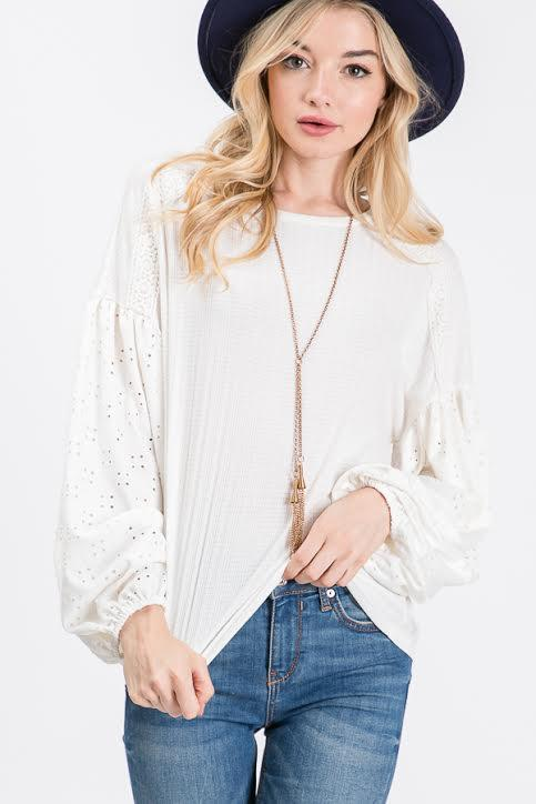 Caroline Eyelet Sleeve Top - SexyModest Boutique