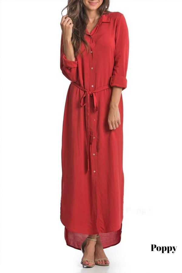 Brigitte Brianna Button Down Maxi Dress - SexyModest Boutique