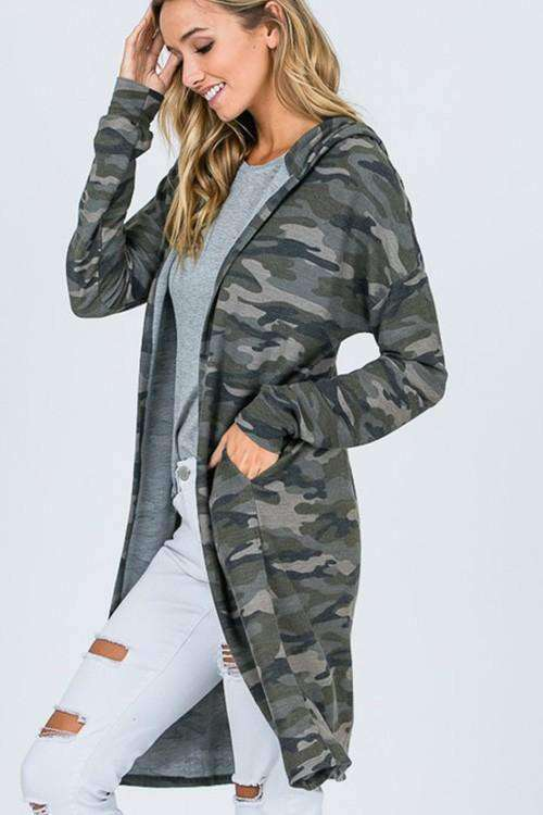 Stacy Camo Cardigan - SexyModest Boutique