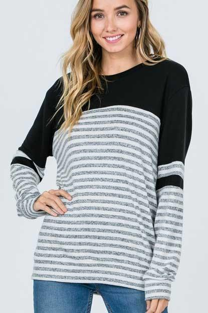 Maggie Striped Long-Sleeve - SexyModest Boutique